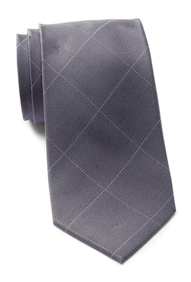 Accesorii Barbati Calvin Klein Classic Windowpane Silk Tie CHARCOAL