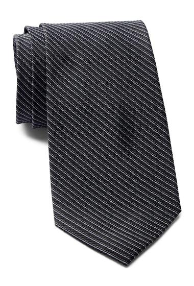 Accesorii Barbati Calvin Klein Dual Pinstripe Silk Tie BLACK