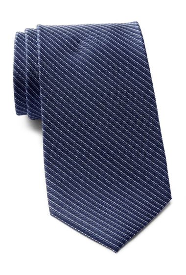 Accesorii Barbati Calvin Klein Dual Pinstripe Silk Tie BLUE