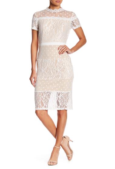 Imbracaminte Femei Tea Cup Bodycon Lace Dress WHITE