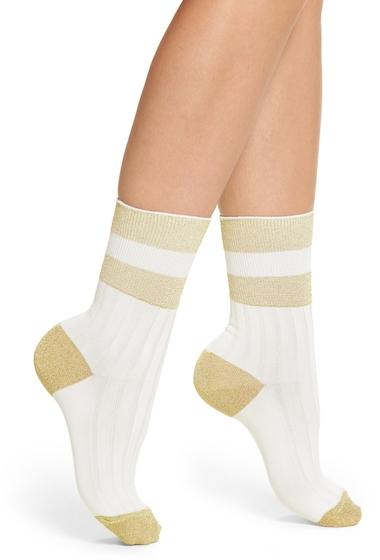 Accesorii Femei Treasure Bond Varsity Stripe Crew Socks WHITE SNOW