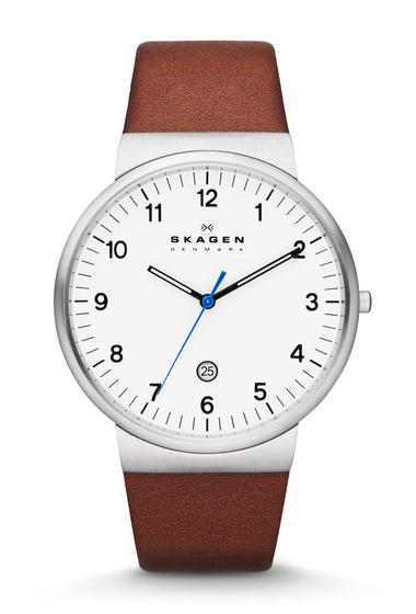 Ceasuri Barbati Skagen Mens Ancher Leather Strap Watch 40mm BROWN