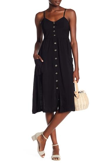 Imbracaminte Femei GOOD LUCK GEM Button Front Midi Dress BLACK