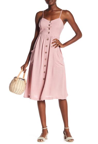 Imbracaminte Femei GOOD LUCK GEM Button Front Midi Dress PINK