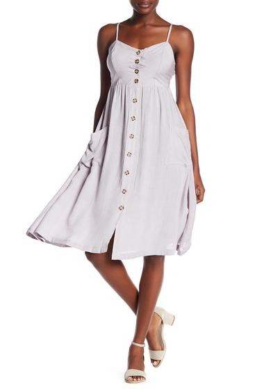 Imbracaminte Femei GOOD LUCK GEM Button Front Midi Dress DUSTY GREY