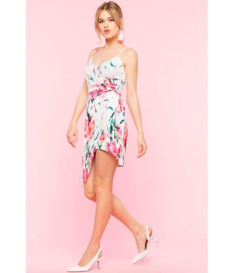 Imbracaminte Femei CheapChic Floral Sateen Surplice Wrap Dress White Print