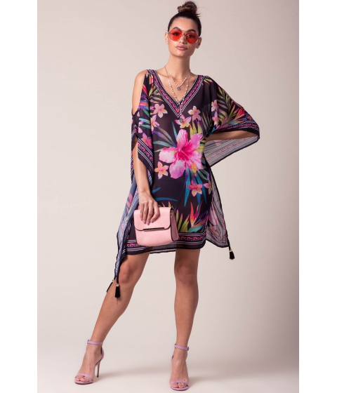 Imbracaminte Femei CheapChic Coco Tropical Trapeze Dress Black Print