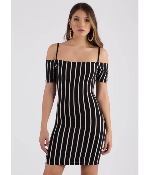 Imbracaminte Femei CheapChic Line em Up Striped Cold-shoulder Dress Black