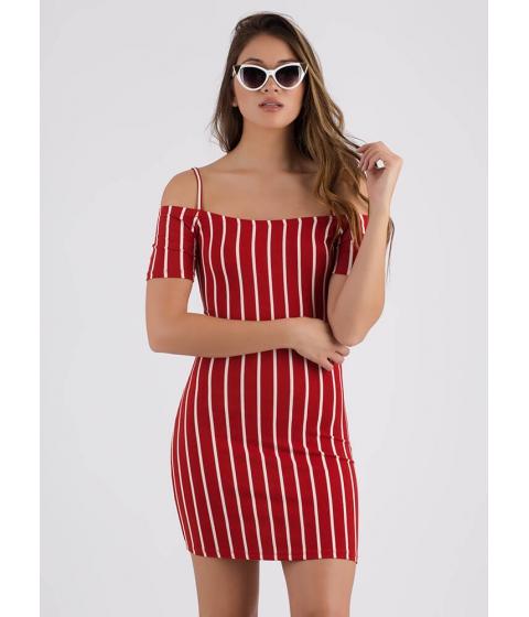 Imbracaminte Femei CheapChic Line em Up Striped Cold-shoulder Dress Red