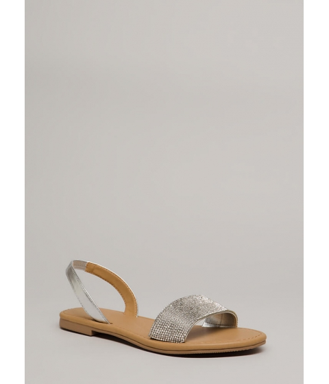 Incaltaminte Femei CheapChic Going Glam Jeweled Slingback Sandals Silver