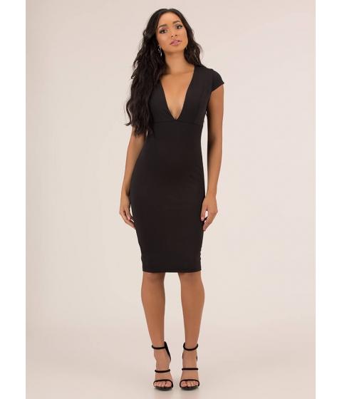 Imbracaminte Femei CheapChic Put A Cap On It Plunging Midi Dress Black