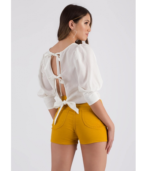 Imbracaminte Femei CheapChic Three Bows Puffy Sleeve Open-back Top White