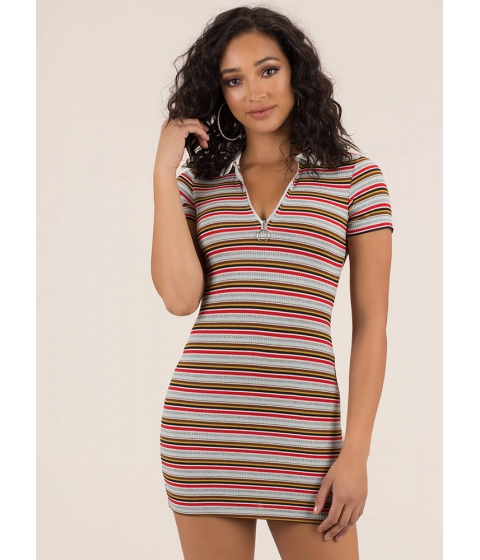 Imbracaminte Femei CheapChic Skate By Striped Collared Zip-up Dress Red