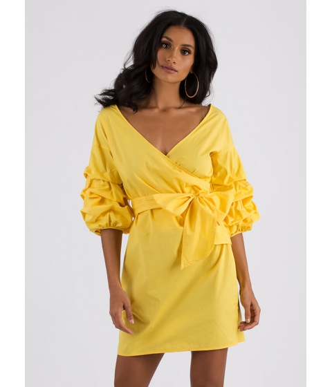 Imbracaminte Femei CheapChic Wrap Icon Tied Puffy Sleeve Dress Yellow