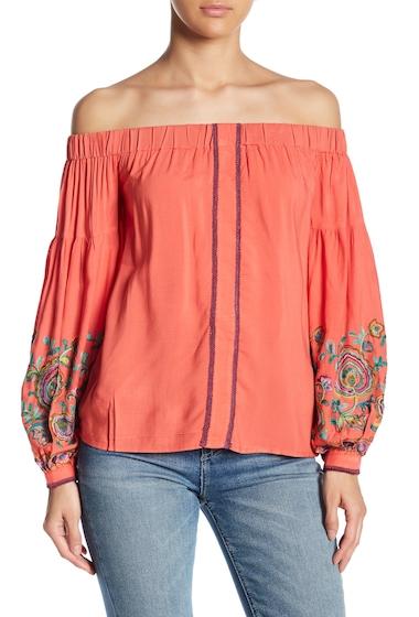 Imbracaminte Femei Line Dot Floral Embroidered Blouson Sleeve Top TANGERINE