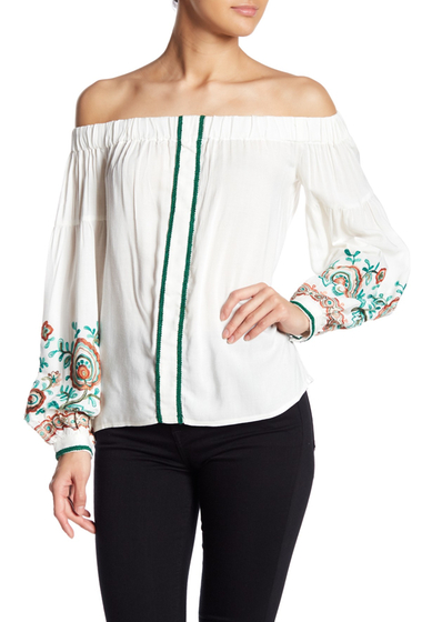 Imbracaminte Femei Line Dot Floral Embroidered Blouson Sleeve Top WHITE