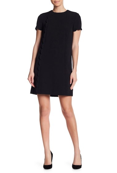Imbracaminte Femei Tahari Scalloped Short Sleeve Shift Dress BLACK