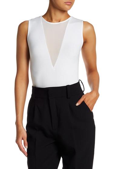Imbracaminte Femei Kendall Kylie V-Plunge Mesh Inset Bodysuit BRIGHT WHITE