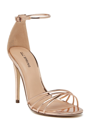 Incaltaminte Femei Call it SPRING Fiwien Ankle Strap Heeled Sandal METALLIC CAMEO ROSE 1