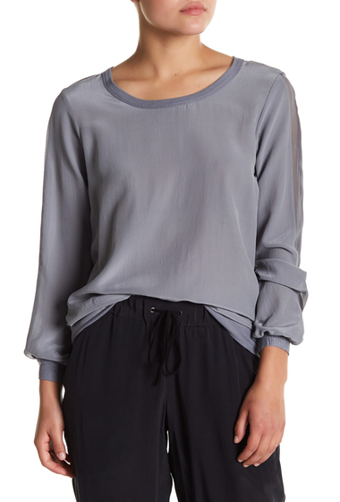 Imbracaminte Femei Chaser Crew Neck Mixed Media Silk Blend Sweater MICA