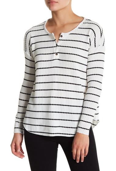 Imbracaminte Femei Chaser Striped Waffle Knit Long Sleeve Shirt NATBLK