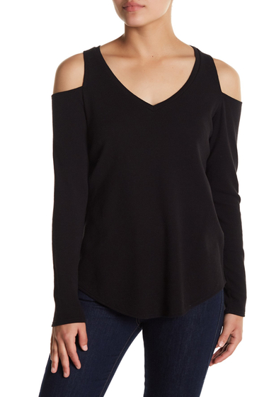 Imbracaminte Femei Chaser Long Sleeve Cold Shoulder Tee BLK