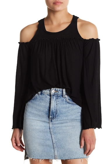 Imbracaminte Femei Chaser Ruffle Trimmed Cold Shoulder Top BLK