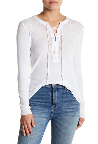 Imbracaminte Femei Chaser Lace-Up Front Long Sleeve Tee WHT