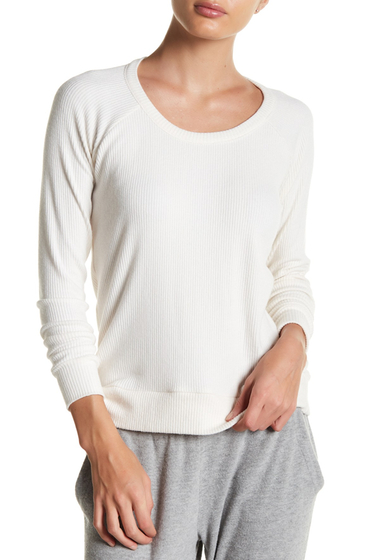 Imbracaminte Femei Chaser Raglan Long Sleeve Ribbed Knit Tee IVORY