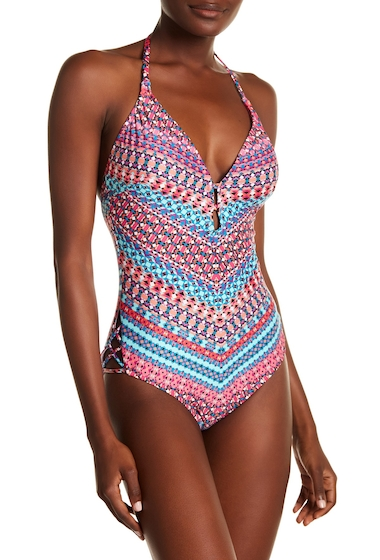 Imbracaminte Femei Laundry by Shelli Segal Geo Print Halter One-Piece Swimsuit BRIGHT BERRY