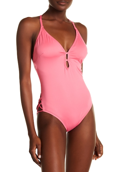 Imbracaminte Femei Laundry by Shelli Segal Plunge Halter One-Piece Swimsuit AZALEA PINK