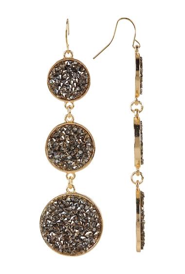 Bijuterii Femei Free Press Bezel Set Glass Crystal Dust Circle Drop Earrings HEMGOLD