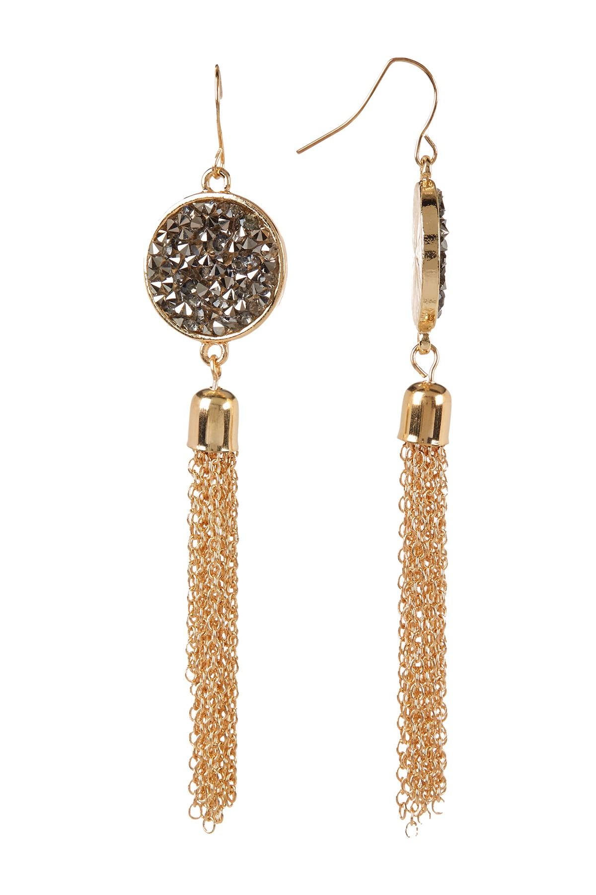 Bijuterii Femei Free Press Bezel Set Glass Crystal Dust Chain Fringe Drop Earrings HEMGOLD