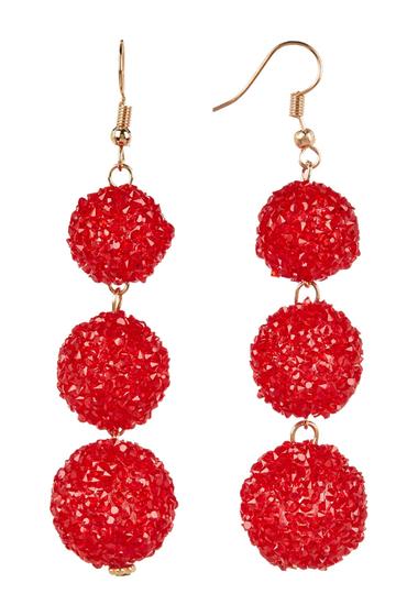 Bijuterii Femei Free Press Glass Crystal Dust Triple Ball Drop Earrings REDGOLD