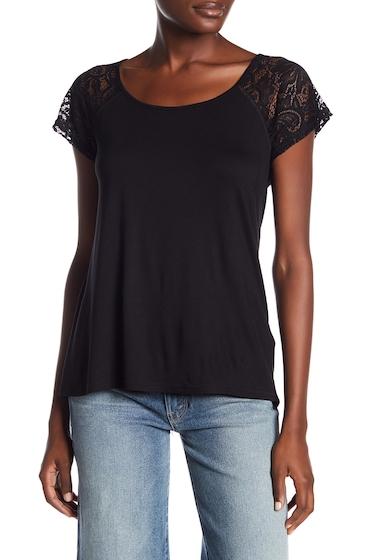 Imbracaminte Femei Cable Gauge Short Raglan Lace Sleeve Tee BLACK