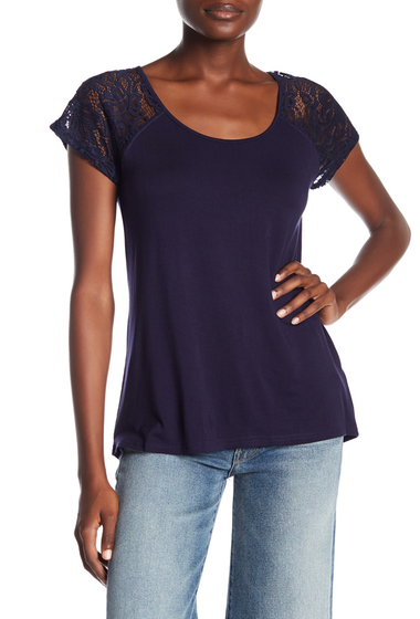 Imbracaminte Femei Cable Gauge Short Raglan Lace Sleeve Tee INTHENAVY