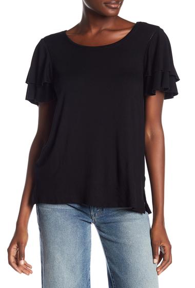 Imbracaminte Femei Cable Gauge Scoop Neck Flutter Sleeve Tee BLACK
