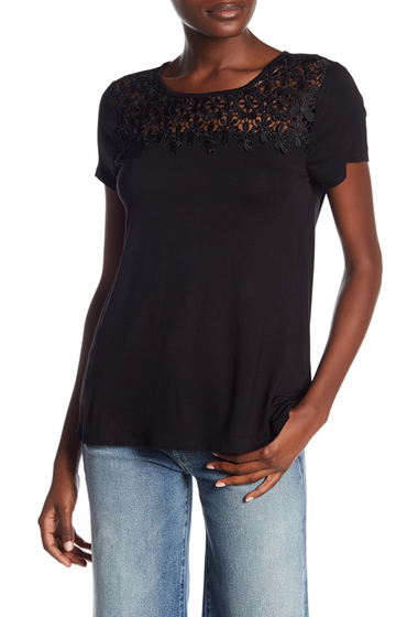 Imbracaminte Femei Cable Gauge Scoop Neck Crochet Knit Tee BLACK
