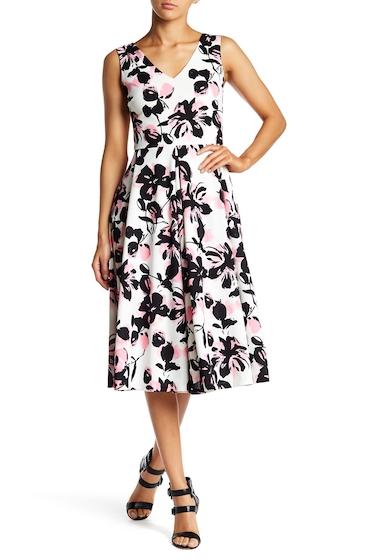 Imbracaminte Femei LOVEAdy Double V Floral Print Flare Hem Dress PNKMUL