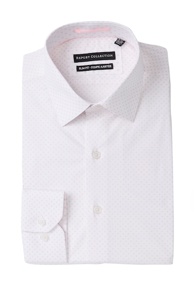 Imbracaminte Barbati Report Collection Dot Print Stretch Slim Fit Dress Shirt 24 PINK