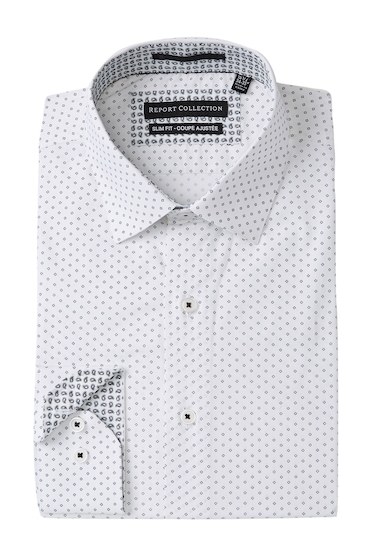 Imbracaminte Barbati Report Collection Square Print Stretch Slim Fit Dress Shirt 01 WHITE