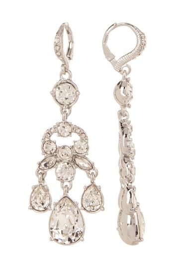 Bijuterii Femei Givenchy Prong Set Multi Cut Glass Crystal Chandelier Earrings RHODIUM