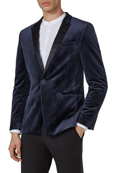 Imbracaminte Barbati TOPMAN Skinny Fit Velvet Tuxedo Jacket DARK BLUE