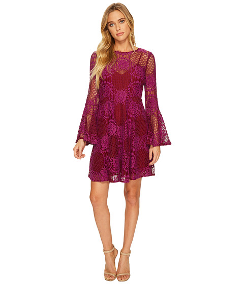 Imbracaminte Femei Donna Morgan Long Bell Sleeve Embroidered Lace Fit and Flare Fuchsia