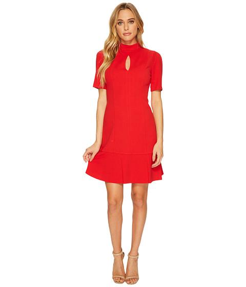 Imbracaminte Femei Donna Morgan Short Sleeve Drop Waist Crepe Dress with Keyhole Red