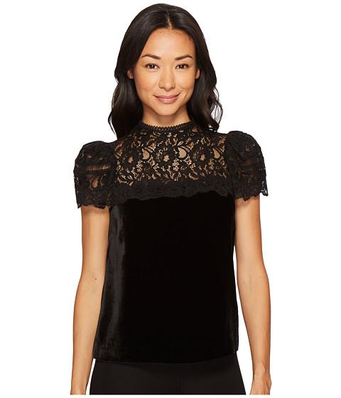 Imbracaminte Femei Rebecca Taylor Short Sleeve Velvet amp Lace Top Black