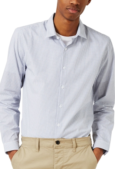 Imbracaminte Barbati TOPMAN Slim Fit Grid Check Dress Shirt WHITE BLUE