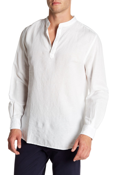 Imbracaminte Barbati Perry Ellis Long Sleeve Popover Shirt BRIGHT WHITE