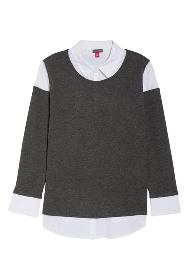 Imbracaminte Femei Vince Camuto Mix Media Brushed Jersey Top Plus Size MED HTR GR