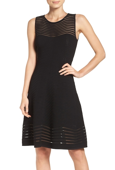 Imbracaminte Femei Eliza J Chevron Fit Flare Dress BLACK